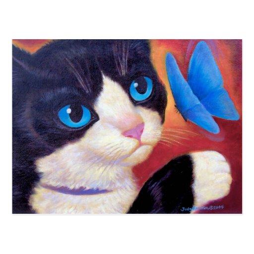 Tuxedo Cat Butterfly Painting - Multi Postcard