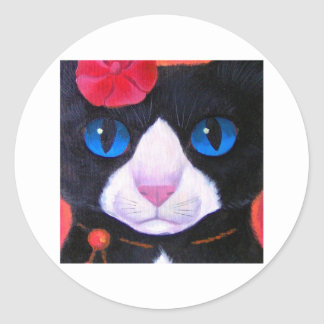 Tuxedo Cat Butterfly Painting - Multi Classic Round Sticker
