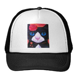 Tuxedo Cat Butterfly Painting - Multi Trucker Hat
