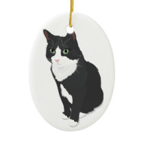 Tuxedo Cat Ceramic Ornament
