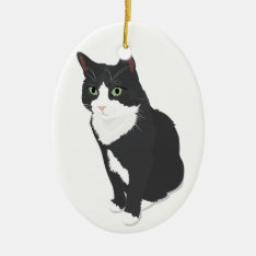 Tuxedo Cat Ceramic Ornament at Zazzle