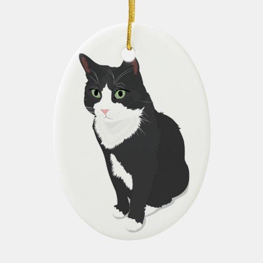 Tuxedo Cat Ceramic Ornament | Zazzle.com