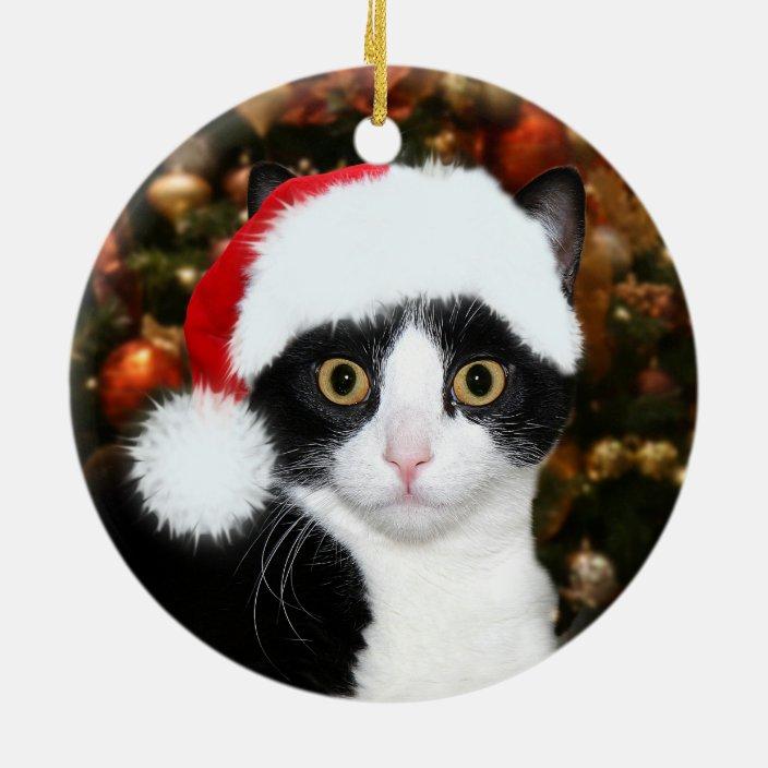 Holiday Pet Gift Black Shorthair Cat Santa Hat Porcelain Christmas Tree Ornament