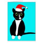 Tuxedo cat Christmas greeting card