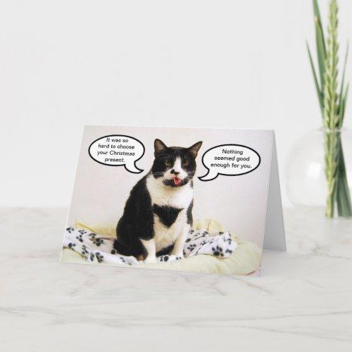 Tuxedo Cat Christmas Humor Card card