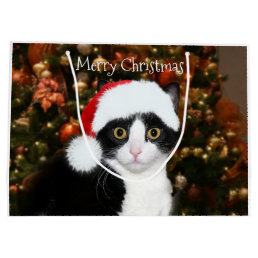 Tuxedo cat Christmas Large Gift Bag