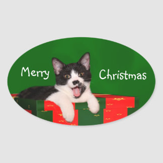 Tuxedo cat Christmas Oval Sticker