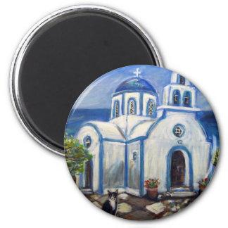 Tuxedo Cat Church on Greek Island painting 2 Inch Round Magnet