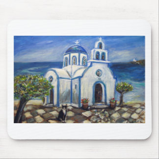 Tuxedo Cat Church on Greek Island painting Mouse Pad