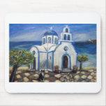Tuxedo Cat Church on Greek Island painting Mousepad