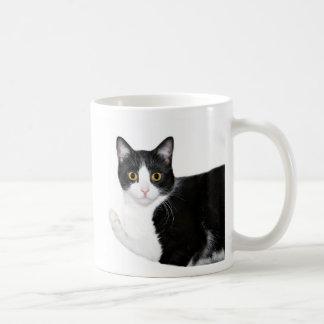 Tuxedo cat classic white coffee mug
