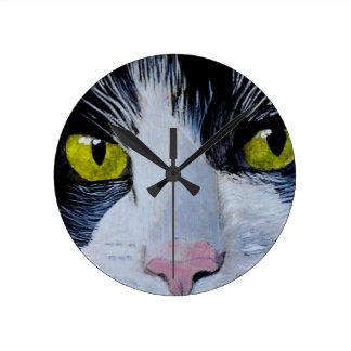 Tuxedo Cat Round Clocks
