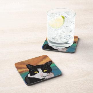 Tuxedo Cat Coaster Set