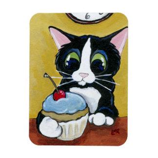 Tuxedo Cat & Cupcake Art Premium Magnet