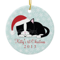 Tuxedo Cat Custom Christmas Ornaments