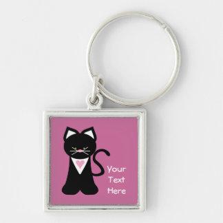 Tuxedo Cat (customizable) Keychain