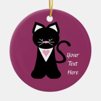 Tuxedo Cat (customizable) Christmas Ornament