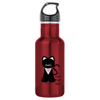 Tuxedo Cat (customizable) Stainless Steel Water Bottle
