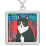 Tuxedo Cat cute kitty unique stained glass style Custom Necklace