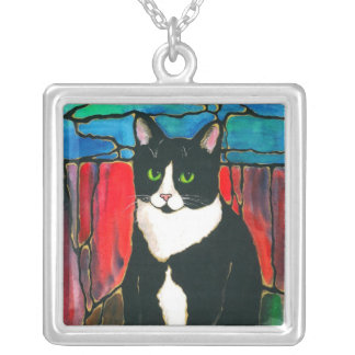 Tuxedo Cat cute kitty unique stained glass style Silver Plated Necklace