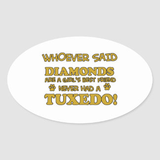 Tuxedo Cat designs Oval Sticker