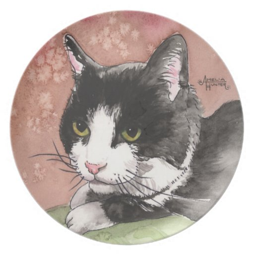 Tuxedo Cat Dinner Plate