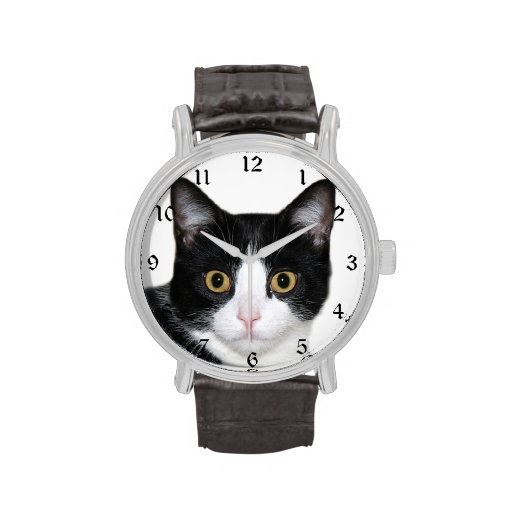 Tuxedo cat face wristwatches