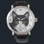 """Tuxedo cat face wrist watch<br><div class=""""desc"""">Black and white tuxedo cat face cat lovers wrist watch</div>"""
