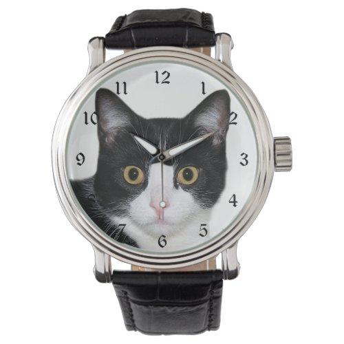 Tuxedo cat face wrist watch