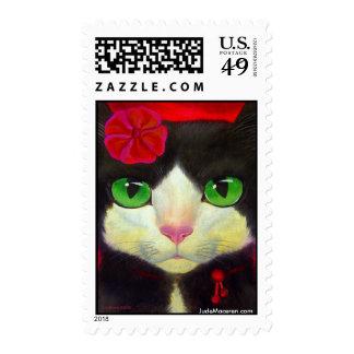 Tuxedo Cat Feline Art Painting Print Stamp