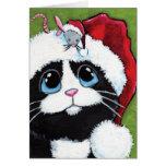 Tuxedo Cat & Festive Mouse Christmas Card