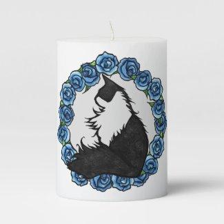 Tuxedo Cat Floral Pillar Candle