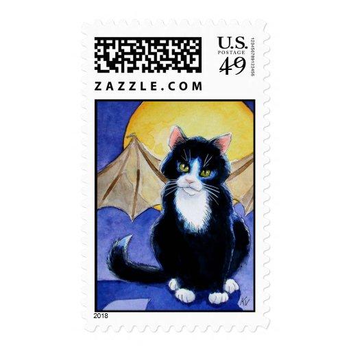Tuxedo Cat Halloween Gargoyle postage stamps