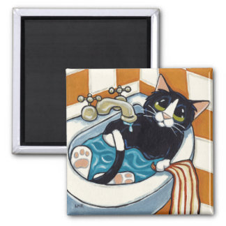 Tuxedo Cat Having a Bath in Bathroom Sink 2 Inch Square Magnet