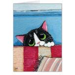 Tuxedo Cat Hiding   Cat Art Greeting Card