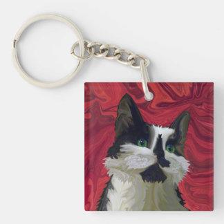 Tuxedo Cat Hits the Red Carpet Square Acrylic Key Chain