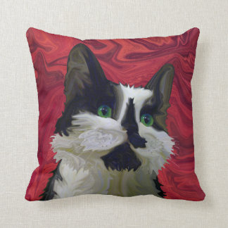 Tuxedo Cat Hits the Red Carpet Throw Pillow