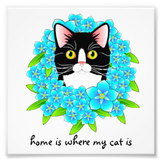 Tuxedo Cat Home Heart Forget Me Not Sign Photo Print