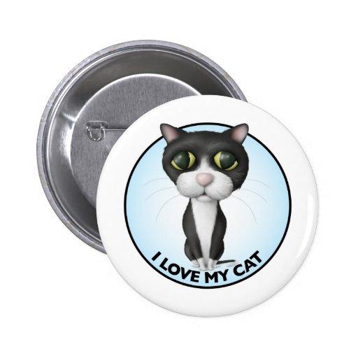 Tuxedo Cat - I Love My Cat Pinback Button