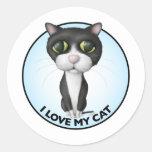 Tuxedo Cat - I Love My Cat Round Sticker