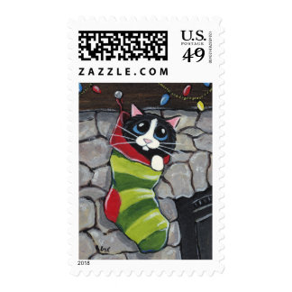 Tuxedo Cat in a Christmas Stocking Art Postage