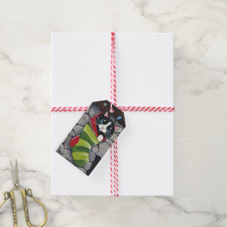 Tuxedo Cat in a Striped Stocking Gift Tags