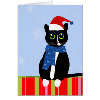 Tuxedo Cat in Candy Stripe Christmas Card