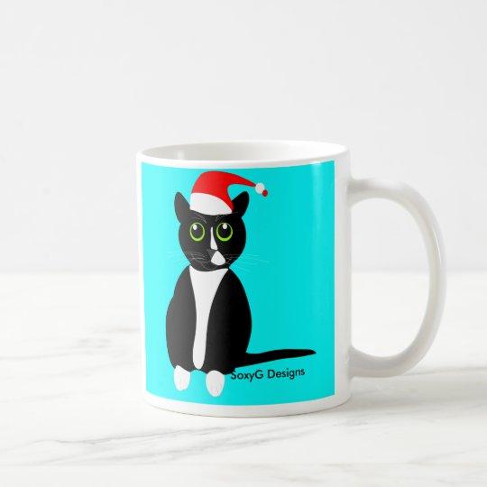 Tuxedo cat in Christmas hat mug