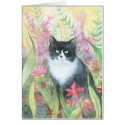 Tuxedo Cat in Garden Card card