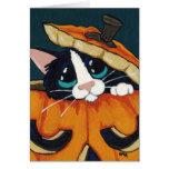 Tuxedo Cat in Halloween Pumpkin Card