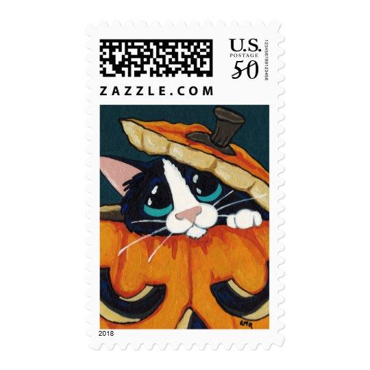Tuxedo Cat in Pumpkin Halloween Postage