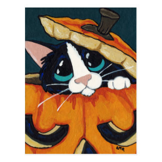 Tuxedo Cat in Pumpkin Halloween Postcard
