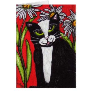 Tuxedo Cat in the Daisies Notecard