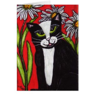 Tuxedo Cat in the Daisies Notecard